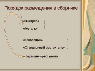Порядок размещения в сборнике «Выстрел» «Метель» «Гробовщик» «Станционный смо...