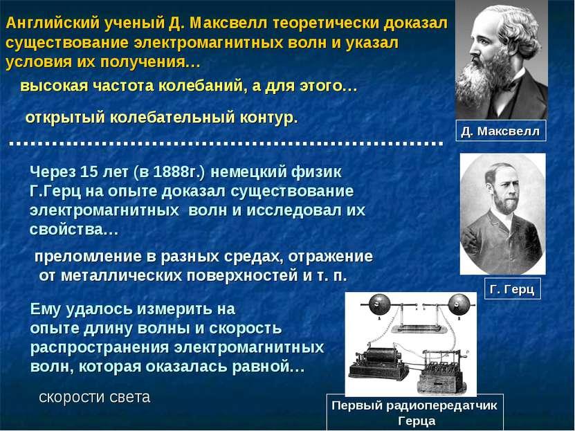 Английский ученый Д. Максвелл теоретически доказал существование электромагни...