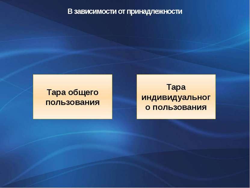 В зависимости от принадлежности Тара общего пользования Тара индивидуального ...