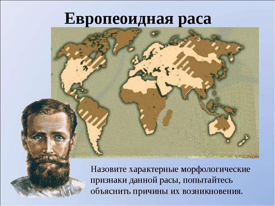 Европеоидная раса Назовите характерные морфологические признаки данной расы, ...
