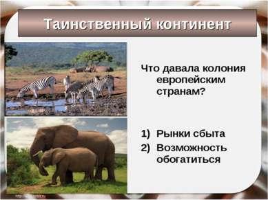Таинственный континент Что давала колония европейским странам? Рынки сбыта Во...