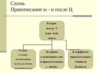 Схема. Правописание ы - и после Ц