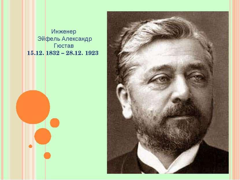 Инженер Эйфель Александр Гюстав 15.12. 1832 – 28.12. 1923