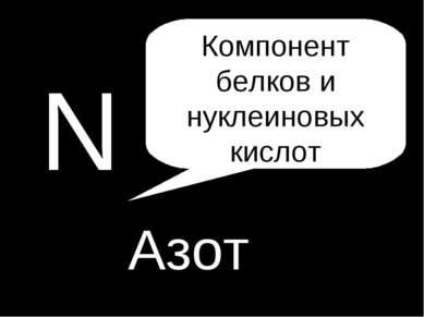 N Азот Компонент белков и нуклеиновых кислот