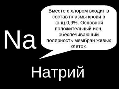 H P Na Натрий Вместе с хлором входит в состав плазмы крови в конц.0,9%. Основ...