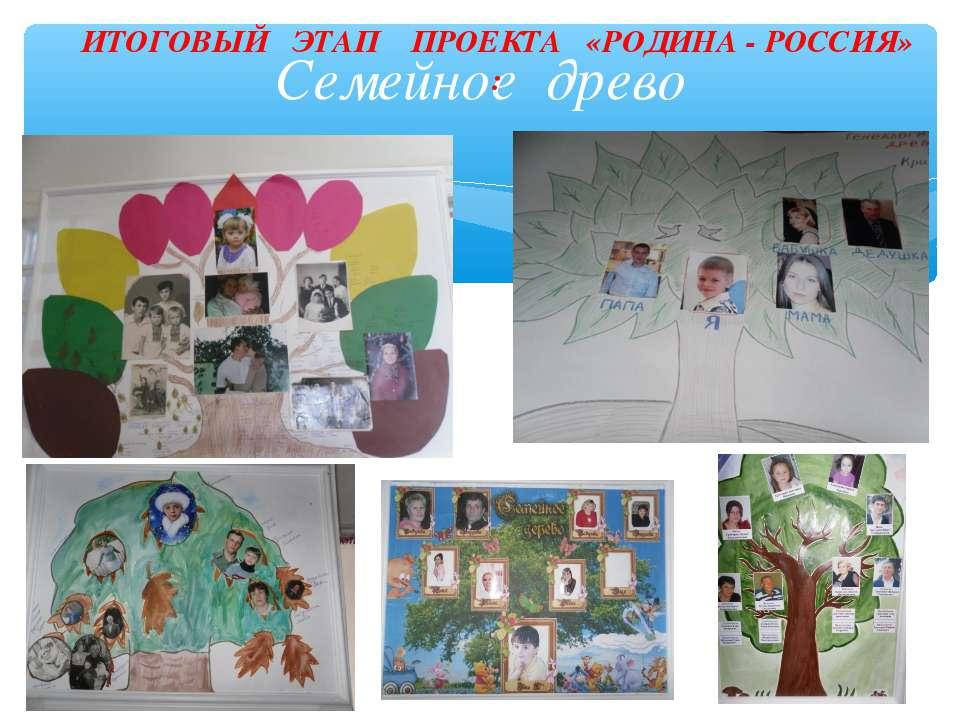 Семейное древо ИТОГОВЫЙ ЭТАП ПРОЕКТА «РОДИНА - РОССИЯ» :