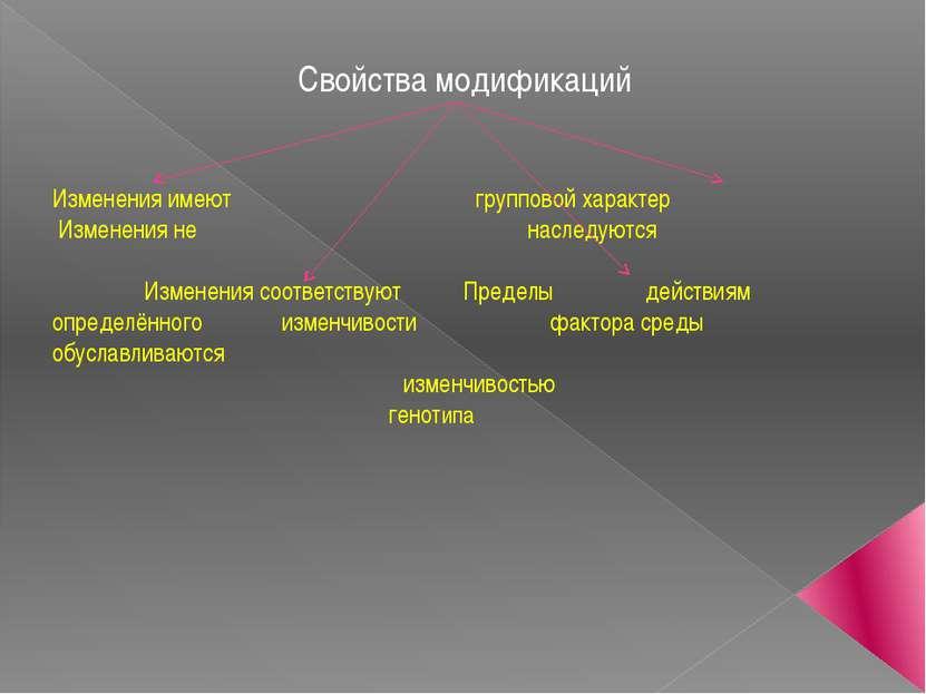 Свойства модификаций Изменения имеют групповой характер Изменения не наследую...