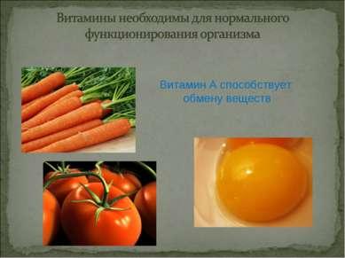 Витамин А способствует обмену веществ