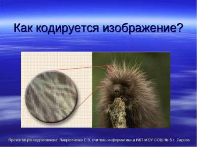 Как кодируется изображение? Презентация подготовлена: Лавренченко Е.В, учител...