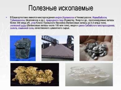 Полезные ископаемые В Башкортостане имеются месторождения нефти (Арланское и ...