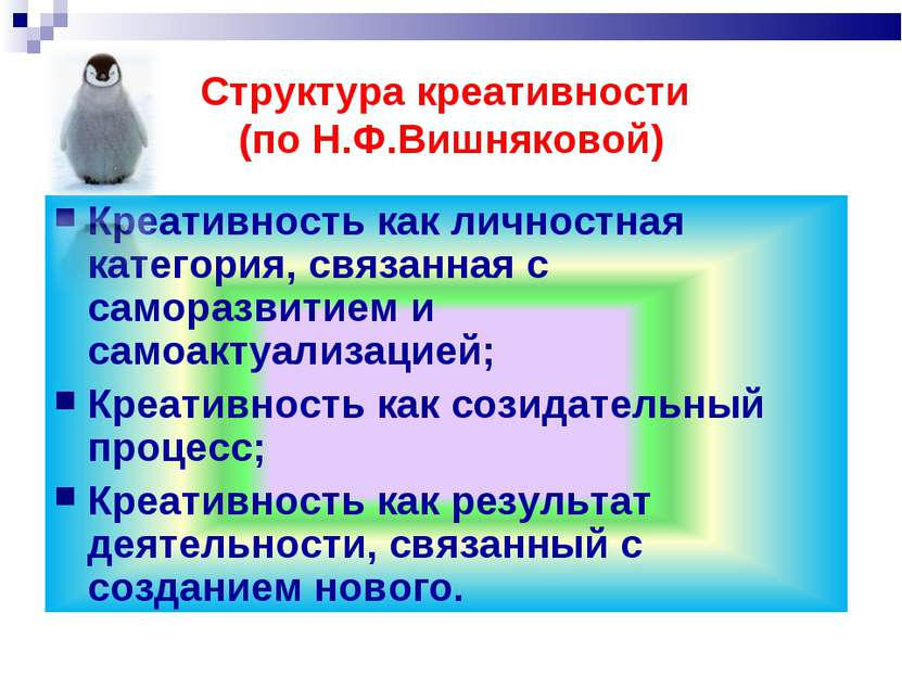 Структура креативности (по Н.Ф.Вишняковой)