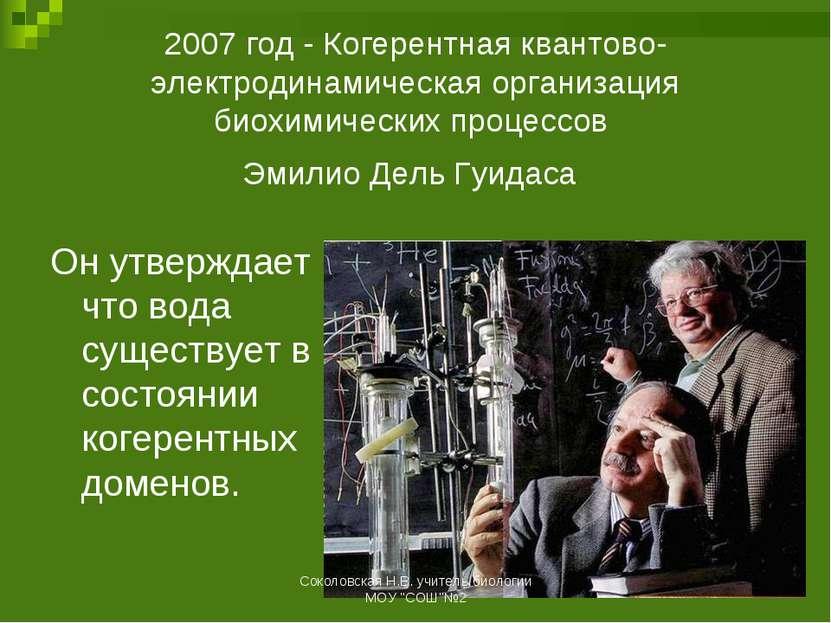 2007 год - Когерентная квантово-электродинамическая организация биохимических...