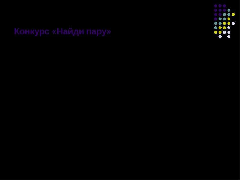 Конкурс «Найди пару» Задание: сопоставить название лечебного средства на перв...
