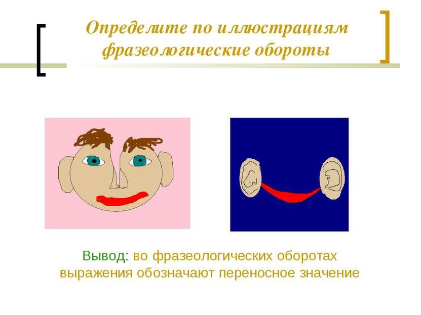 Определите по иллюстрациям фразеологические обороты Вывод: во фразеологически...