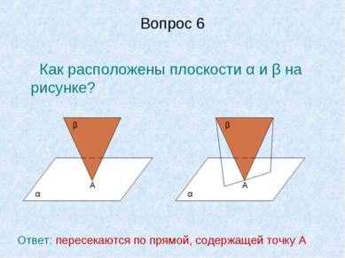 Вопрос 6 Как расположены плоскости α и β на рисунке? А α β А α β Ответ: перес...