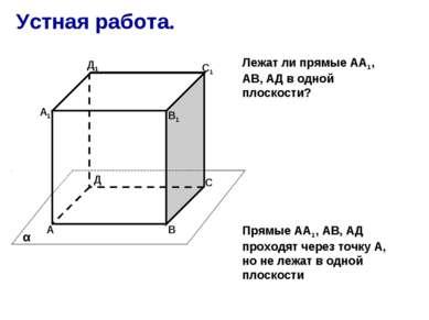 Устная работа. А В С Д А1 В1 С1 Д1 α Прямые АА1, АВ, АД проходят через точку ...