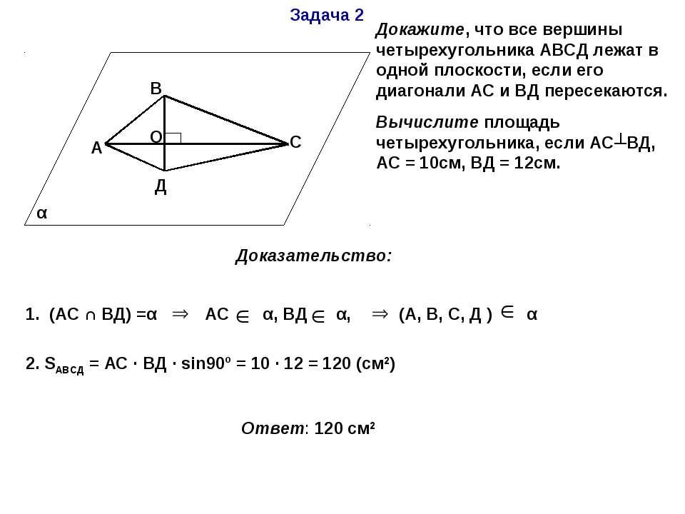 Задача 2 α А В С Д О Докажите, что все вершины четырехугольника АВСД лежат в ...