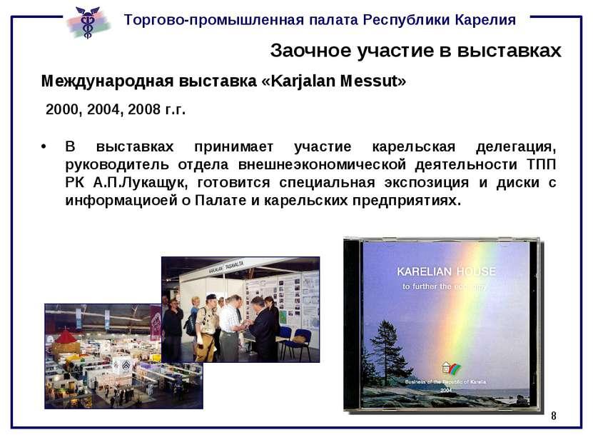 * Заочное участие в выставках Международная выставка «Karjalan Messut» 2000, ...