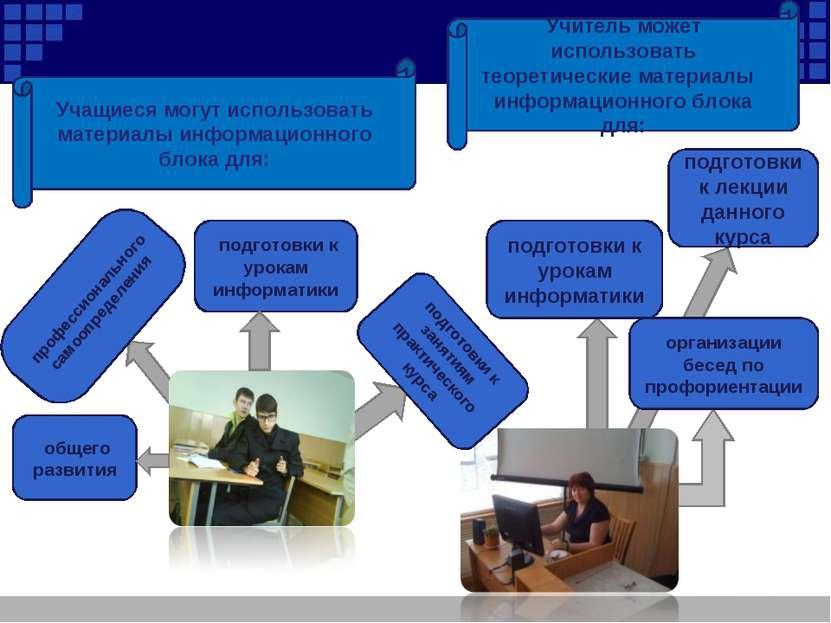Учитель может использовать теоретические материалы информационного блока для:...