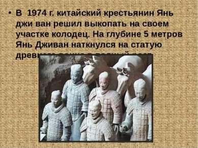 В 1974 г. китайский крестьянин Янь джи ван решил выкопать на своем участке ко...