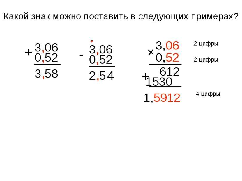 Какой знак можно поставить в следующих примерах? 0,52 3,06 + 3,58 , , , 0,52 ...