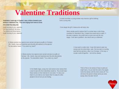 Valentine Traditions Hundreds of years ago in England, many children dressed ...