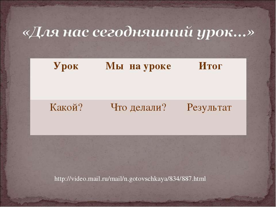 http://video.mail.ru/mail/n.gotovschkaya/834/887.html Урок Мы на уроке Итог К...
