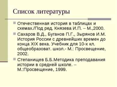 Список литературы Отечественная история в таблицах и схемах./Под ред. Князева...