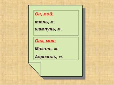 Он, мой: тюль, м. шампунь, м. Она, моя: Мозоль, ж. Аэрозоль, ж.