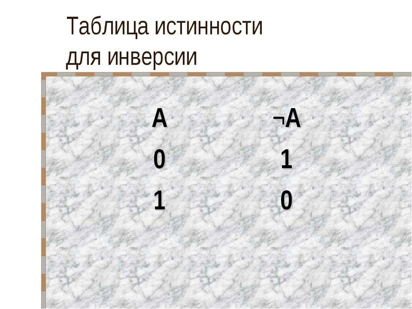 Таблица истинности для инверсии А ¬А 0 1 1 0