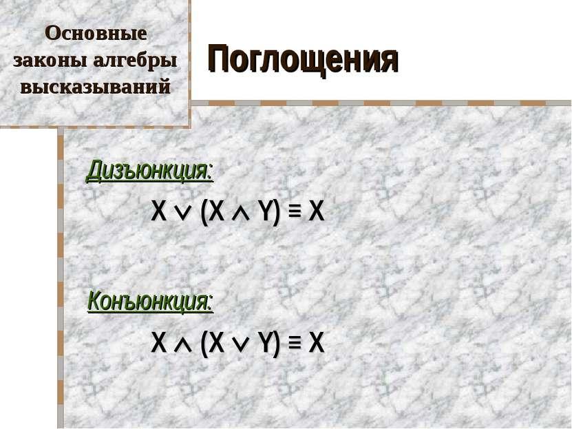 Поглощения Дизъюнкция: X (X Y) ≡ X Конъюнкция: X (X Y) ≡ X Основные законы ал...