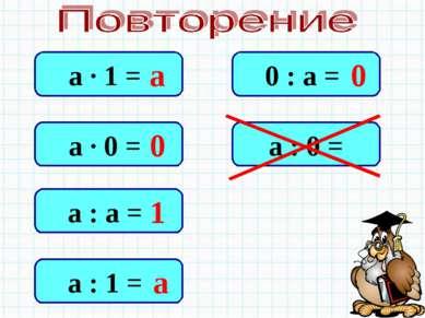 а · 1 = а · 0 = а : а = а : 1 = 0 : а = а : 0 = а 0 1 а 0