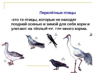 Перелётные птицы -это те птицы, которые не находят поздней осенью и зимой для...