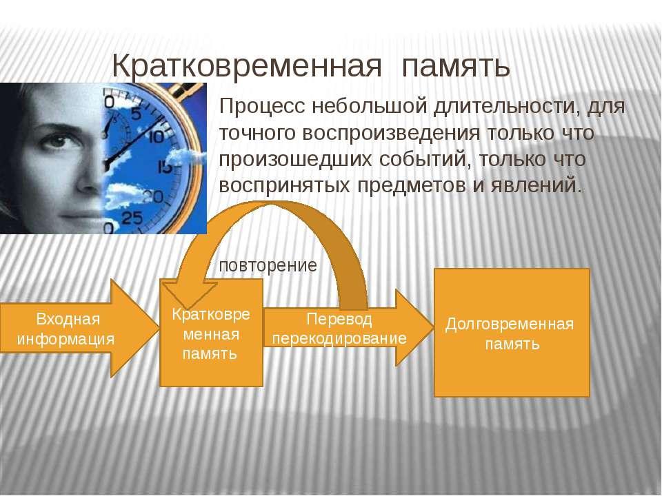 Кратковременная память Процесс небольшой длительности, для точного воспроизве...