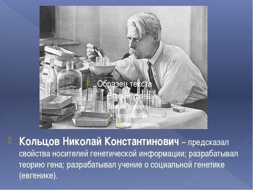 Кольцов Николай Константинович – предсказал свойства носителей генетической и...