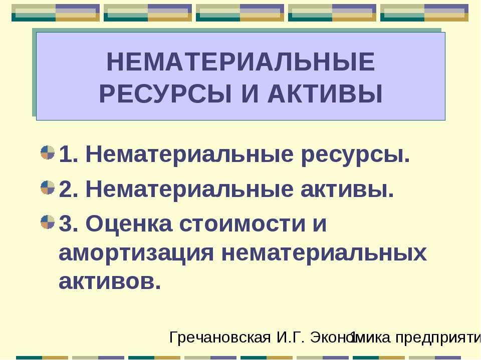 НЕМАТЕРИАЛЬНЫЕ РЕСУРСЫ И АКТИВЫ 1. Нематериальные ресурсы. 2. Нематериальные ...