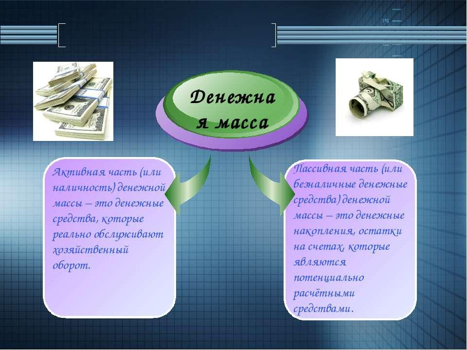 Денежная масса Пассивная часть (или безналичные денежные средства) денежной м...