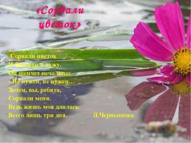 «Сорвали цветок» Сорвали цветок И бросили в лужу. Он шепчет печально: - Не ну...