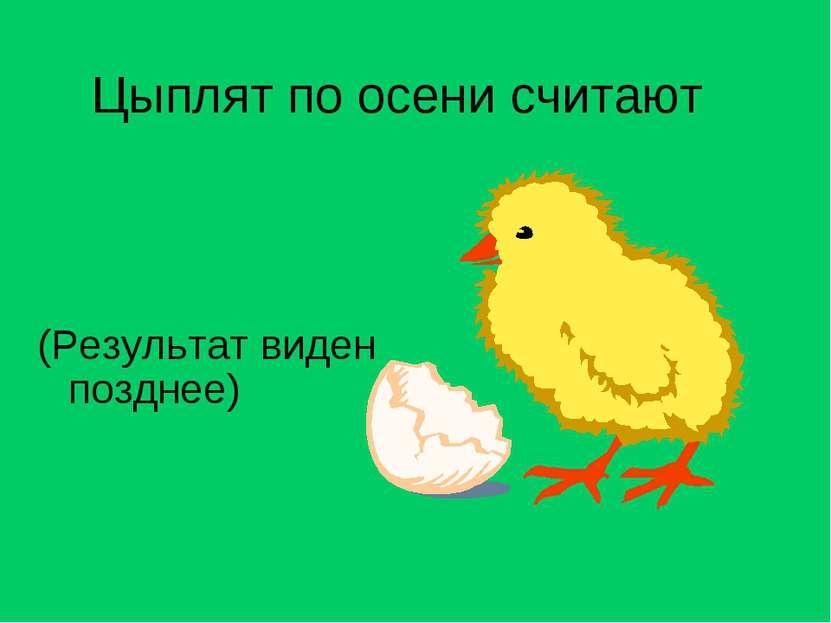 Цыплят по осени считают (Результат виден позднее)