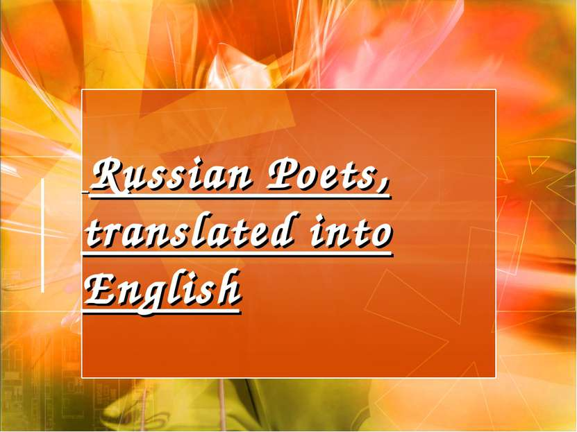 Russian Poets, translated into English