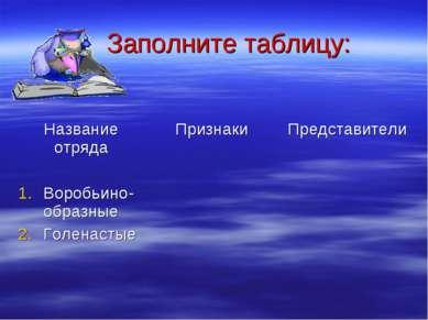 Заполните таблицу: Название отряда Признаки Представители Воробьино- образные...