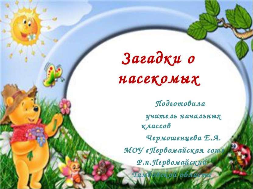 Загадки о насекомых Подготовила учитель начальных классов Чермошенцева Е.А. М...