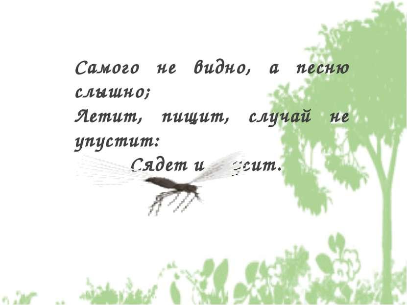Самого не видно, а песню слышно; Летит, пищит, случай не упустит: Сядет и уку...
