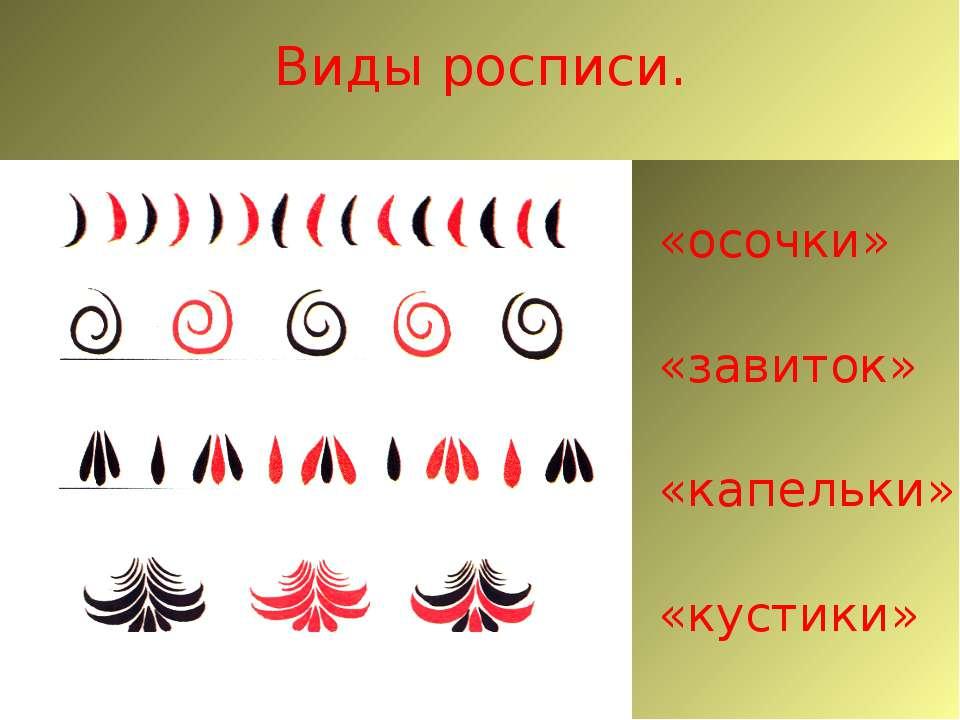 Виды росписи. «осочки» «завиток» «капельки» «кустики»