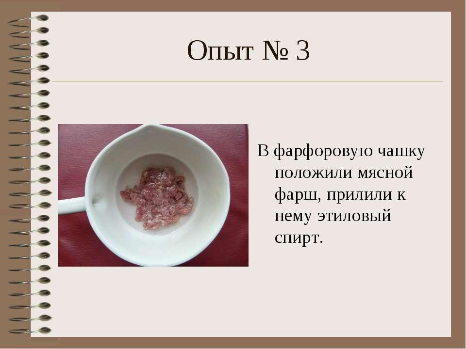 Опыт № 3 В фарфоровую чашку положили мясной фарш, прилили к нему этиловый спирт.