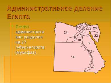 Административное деление Египта Египет административно разделен на 27 губерна...