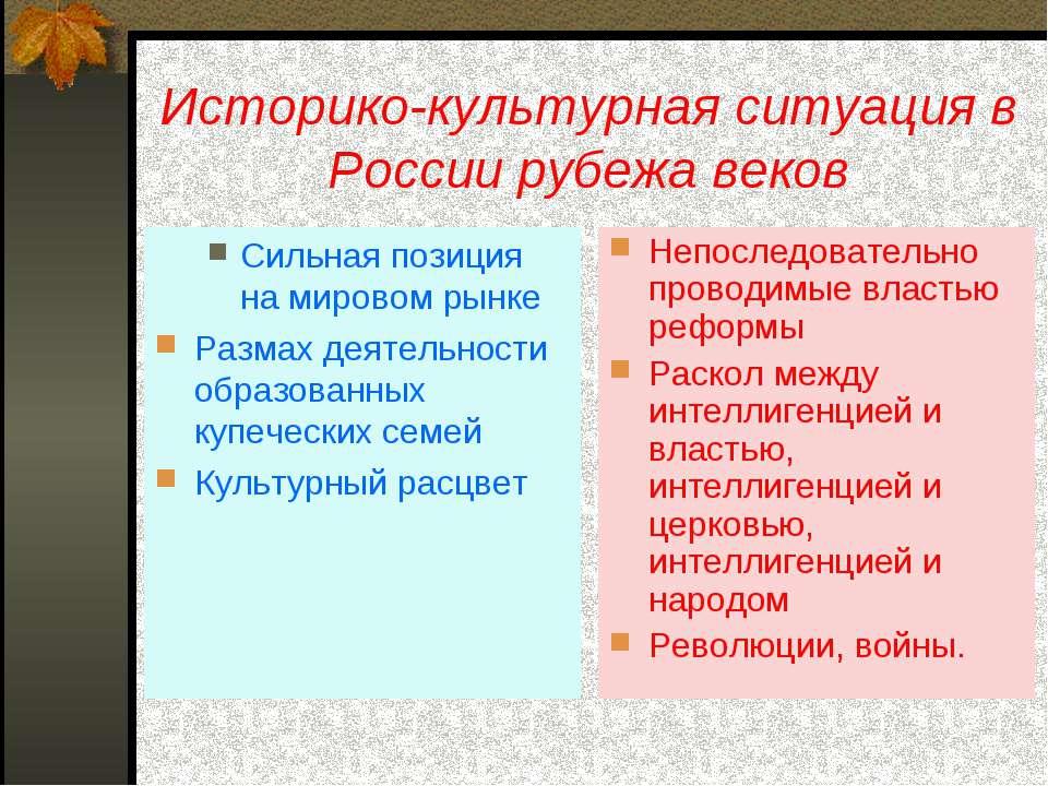 Историко-культурная ситуация в России рубежа веков Сильная позиция на мировом...