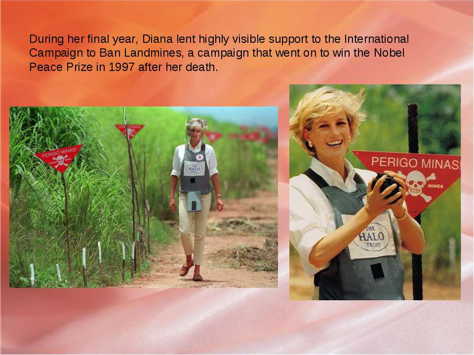 During her final year, Diana lent highly visible support to the International...