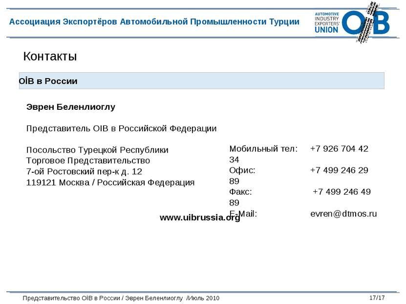 Контакты Эврен Беленлиоглу Представитель OIB в Российской Федерации Посольств...