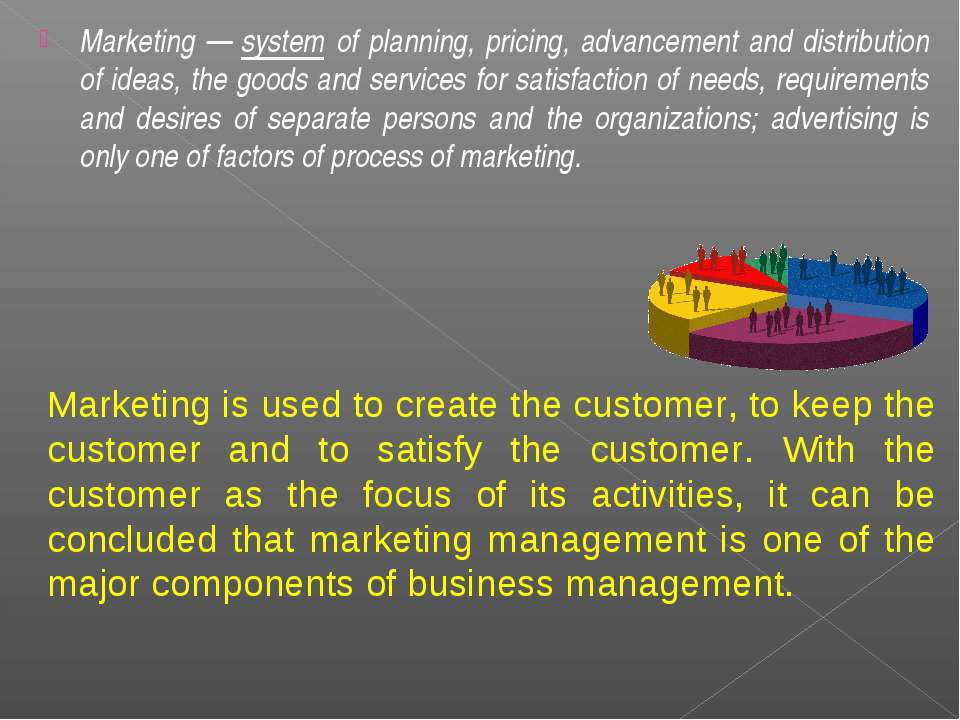 Marketing — system of planning, pricing, advancement and distribution of idea...